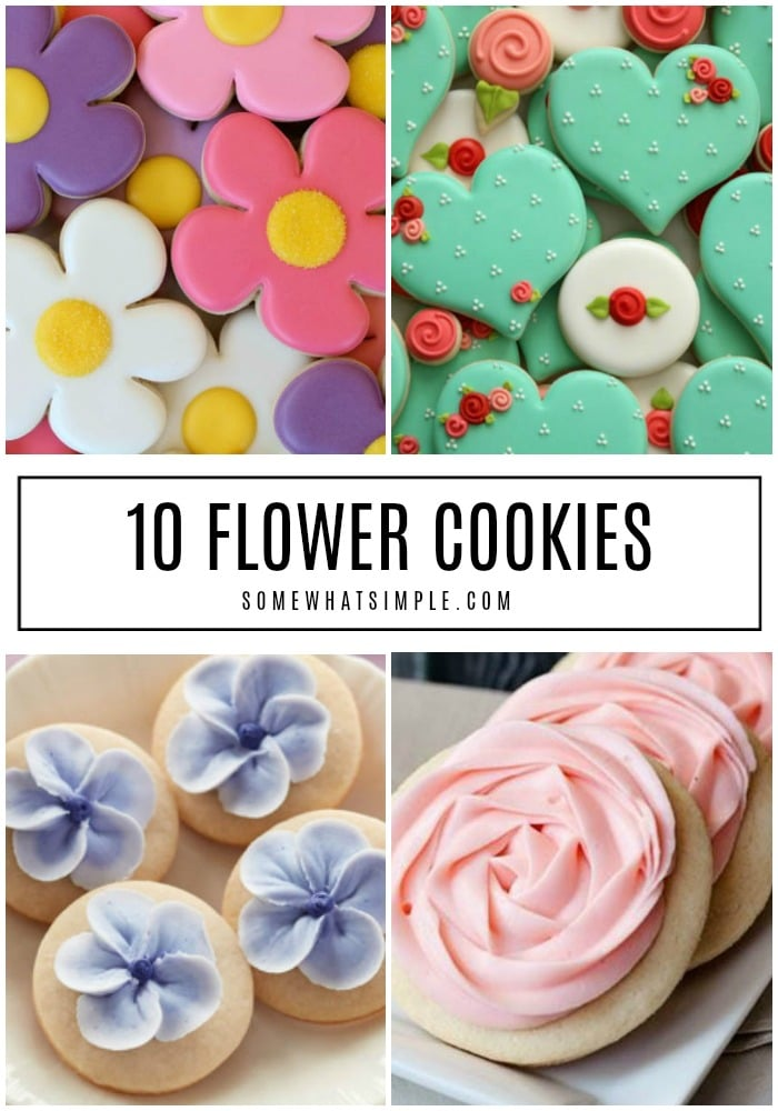 """Say """"Hello Spring"""" by baking some delicious Sugar Cookie Flowers for neighbors and friends! #cookies #flowercookies #springtreats #springcookies #easycookies via @somewhatsimple"""