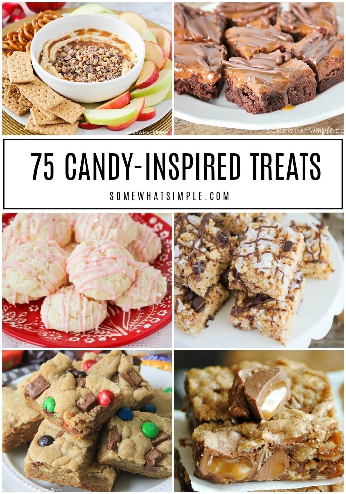 Looking for ways to use that Halloweencandy still laying around? Here are 75 candy treats with our favorites candies as the star ingredient!#treats #desserts #easy #candy #recipes via @somewhatsimple