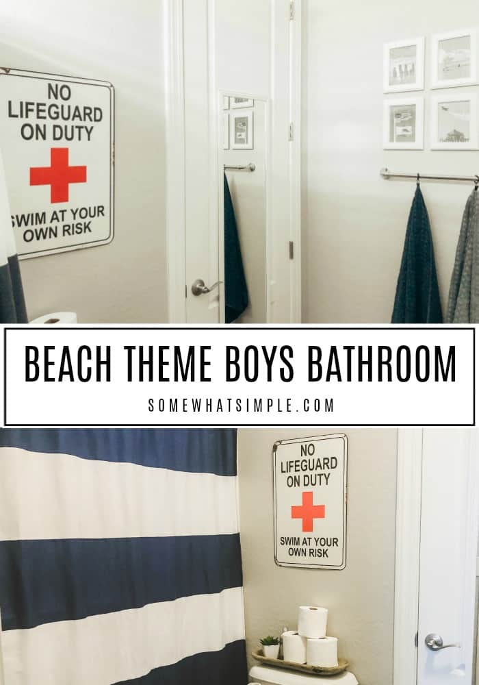 A quick peek at our boys bathroom with ideas on how to update your space without any fuss! #bathroom #bathroomideas #beachbathroom #bathroomdecor #boysbathroom via @somewhatsimple