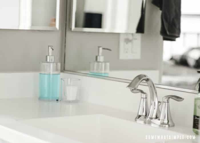 bathroom vanity with mouthwash
