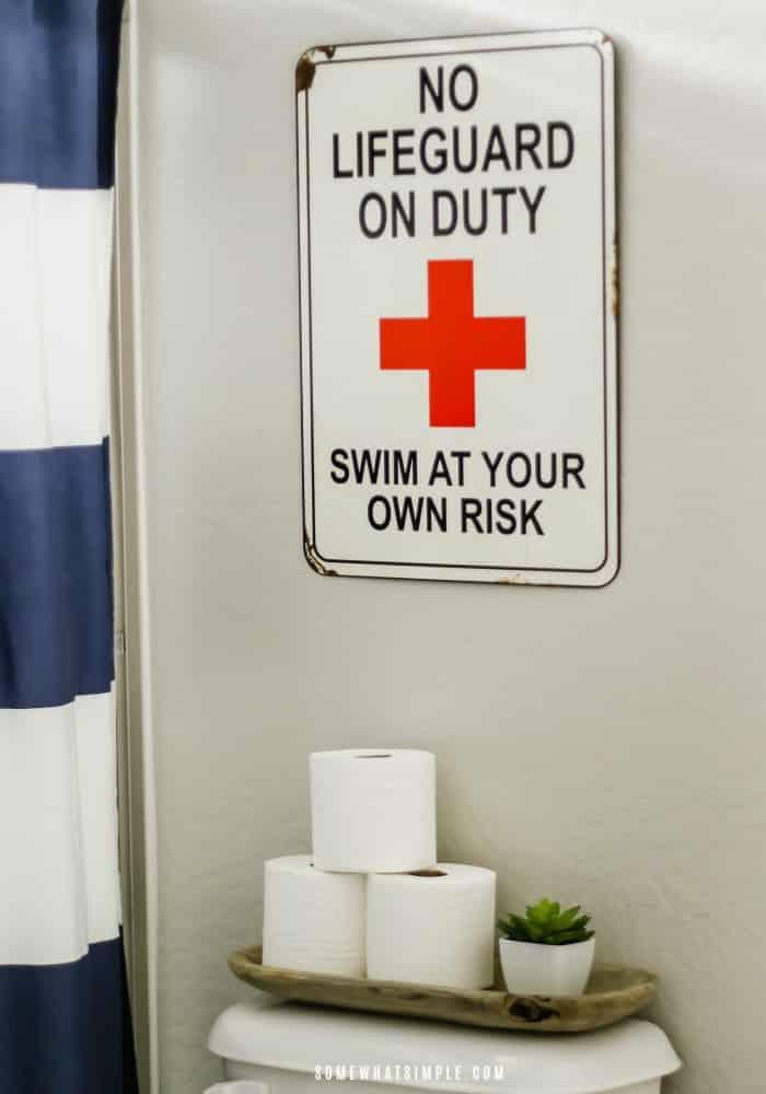 no lifeguard on duty sign in boys bathroom