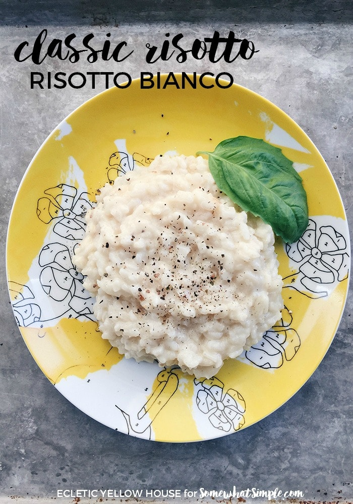 This is a simple, classic risotto dish that is super simpleto make. It can easily stand alone or accompany your favorite grilled shrimp or chicken. Add in a green salad and you've got a great meal! #risotto #classicrisotto via @somewhatsimple