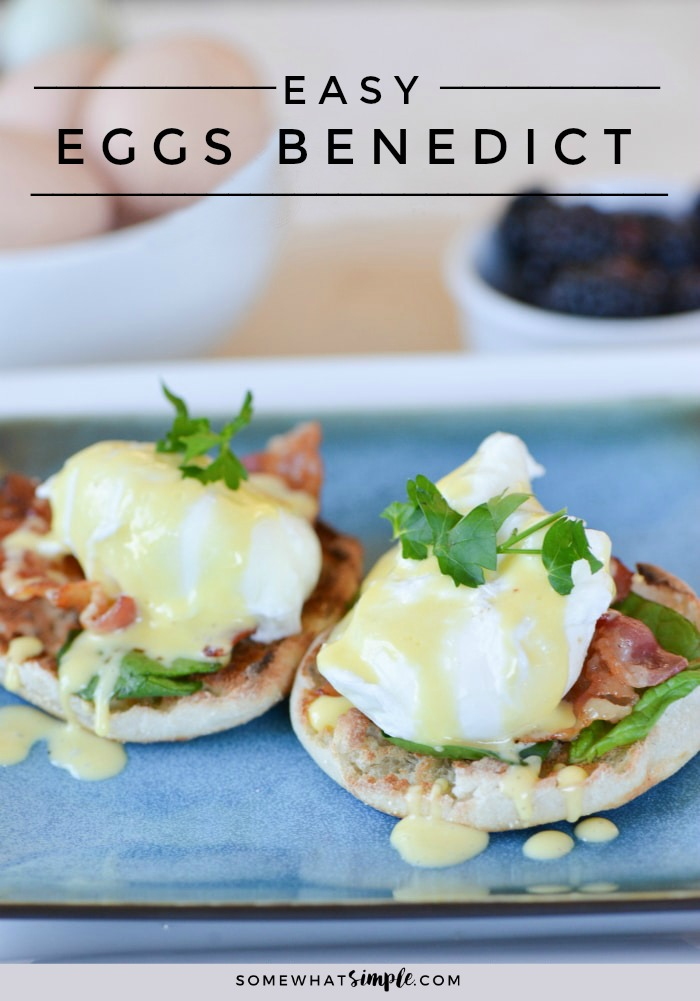 Treat yourself to the best brunch in the world with this easy Eggs Benedict Recipe! #breakfast #mothersday #hollandaise #easybreakfast #brunch