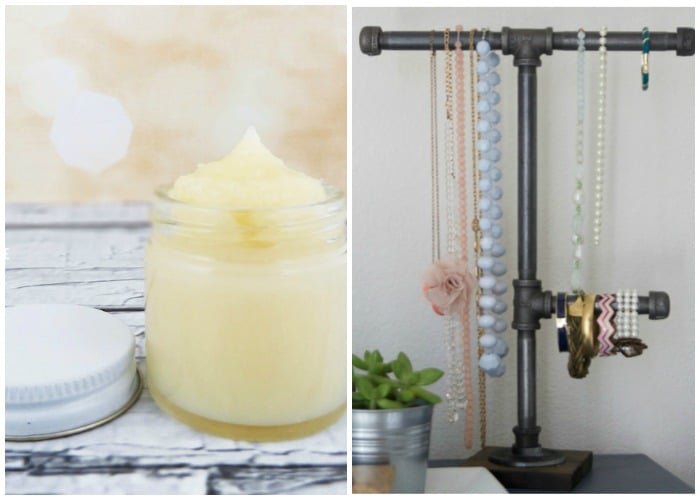 handmade industrial jewelry holder and DIY lip balm gift ideas for girls