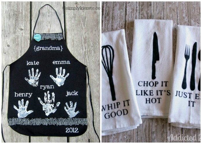 cute homemade DIY apron and kitchen towes gifts for girls