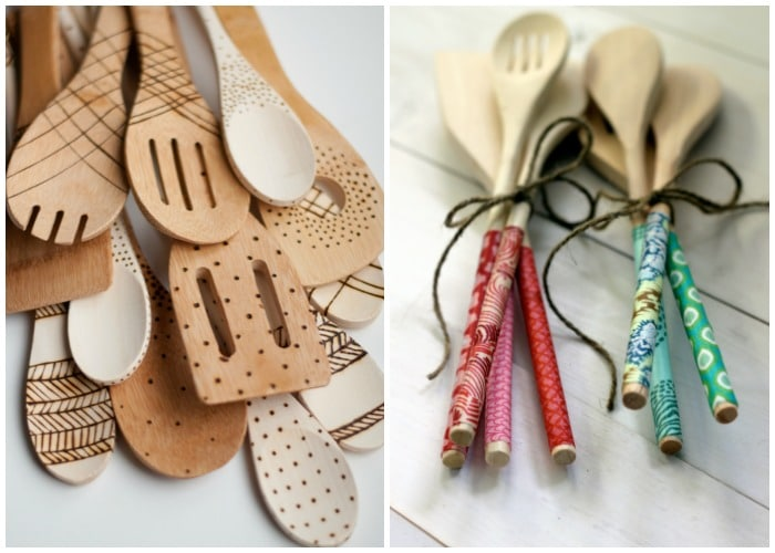 etched wooden spoon and DIY mod podge kitchen spoon gifts for girls