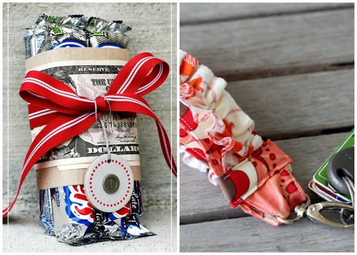 cute candy bars wrapped with money and a ruffled key fob gift for her