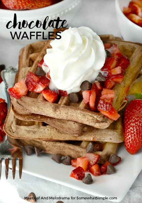 Homemade Chocolate Waffles with fresh Strawberries are easy to make and perfect for a family breakfast or brunch! via @somewhatsimple