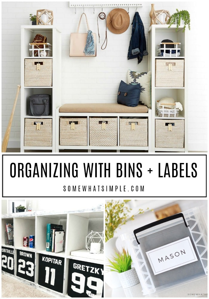 a collage of pictures showing different examples of how to organize a space using bins and labels.