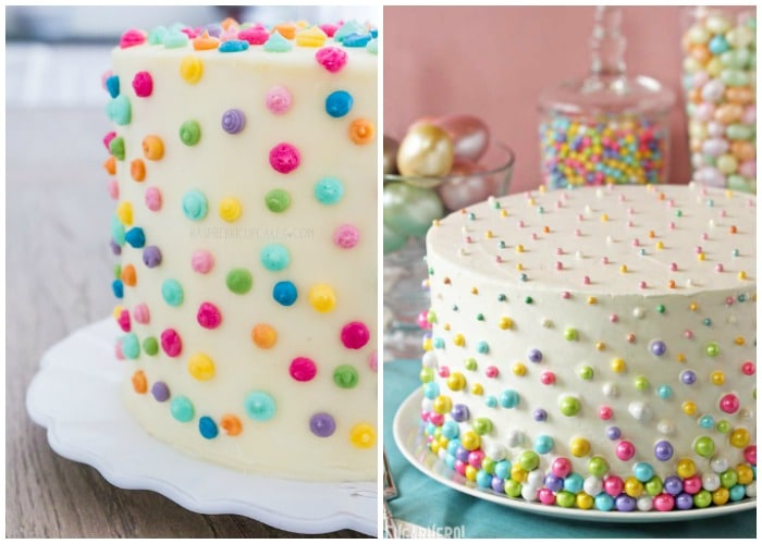 large cakes with white fondant icing that have small brightly colored dots decorating the cake