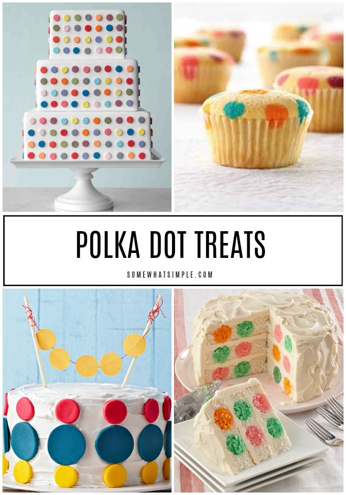 a collage of four images of different cake and cupcakes that are all decorated with dots and polka dot patterns