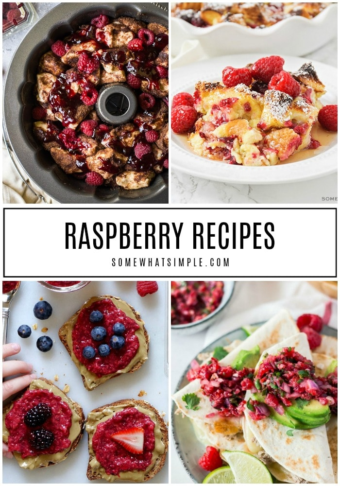 Enjoy the sweet/tart flavor in every bite of our very favorite raspberry recipes. (Your taste buds are going to fall in love!) #raspberryrecipes #raspberrybreakfastrecipes #raspberrydesserts #raspberrydrinkrecipes #raspberrydinnerideas via @somewhatsimple