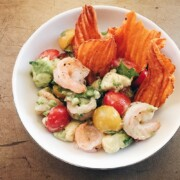 a bowl of shrimp salad