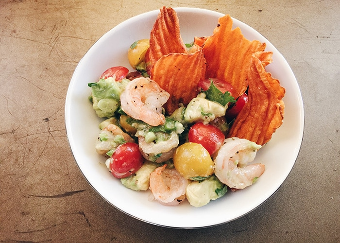 a bowl of shrimp salad