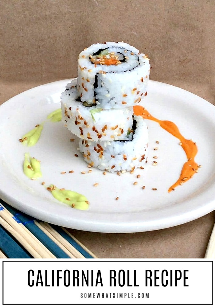 Making your own sushi is not only delicious, it's actually really easy to do! This California Roll recipe is my very favorite sushi dish EVER! #sushi #californiaroll #easydinner #howtomakesushi #easyrecipe  via @somewhatsimple