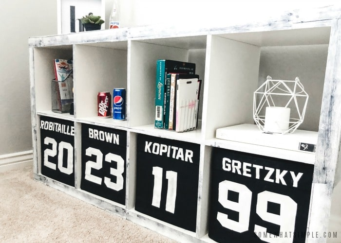 boys hockey room cubby shelf with la kings jerseys