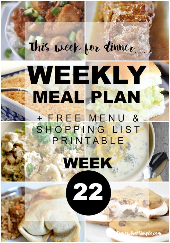 Weekly Menu Plan 22