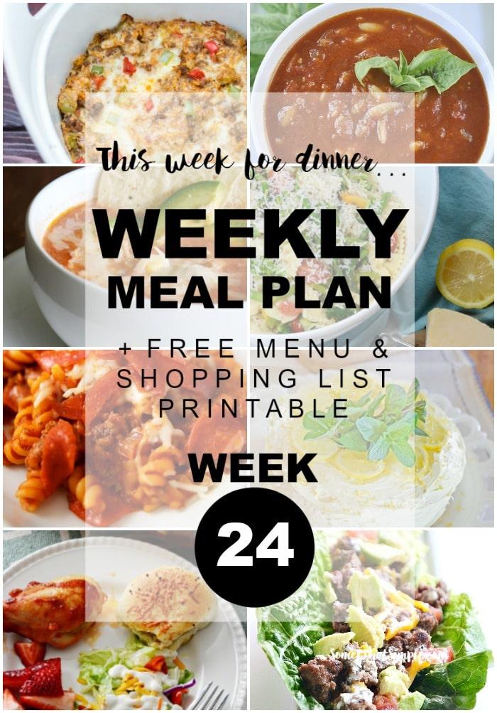 Weekly Menu Plan Week 24