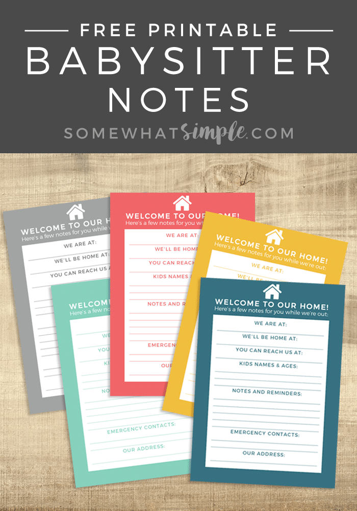 Today we are sharing free printable Notes for the Babysitter - download, print and be on your way, sans kiddos!! #babysitter #notes #notesforthebabysitter #freeprintable via @somewhatsimple