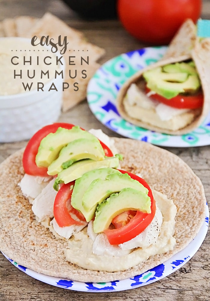 Chicken Hummus Wraps are savory, delicious, and so easy to make. A tasty and hearty main dish that happens to be healthy too! #hummus #wrap #easy #recipe #lunch #dinner #chicken via @somewhatsimple