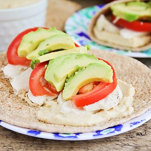 Easy Chicken Hummus Wraps