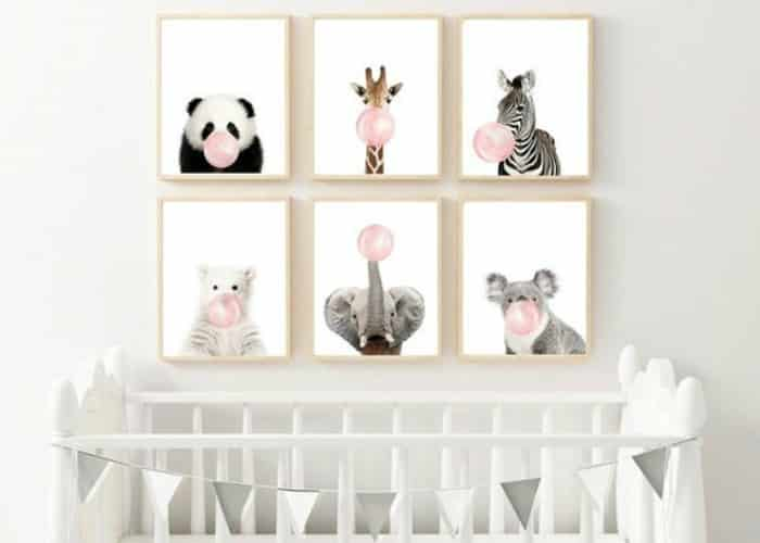 animal prints nursery decor