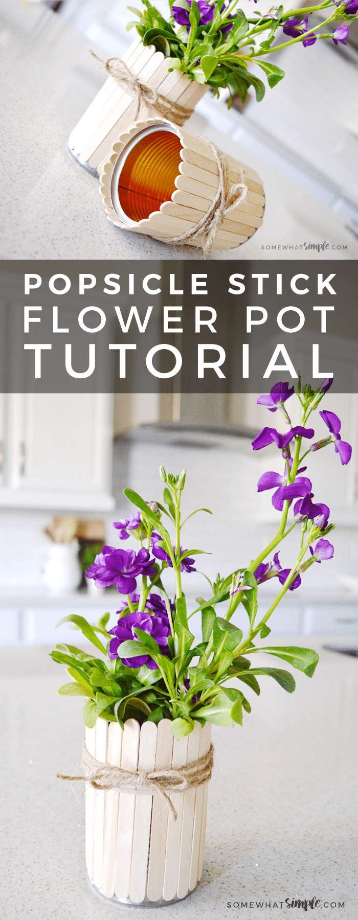 A no-mess, easy to make craft for the kids! With just a few basic supplies, make these simple + beautiful popsicle stick flower pots in minutes!