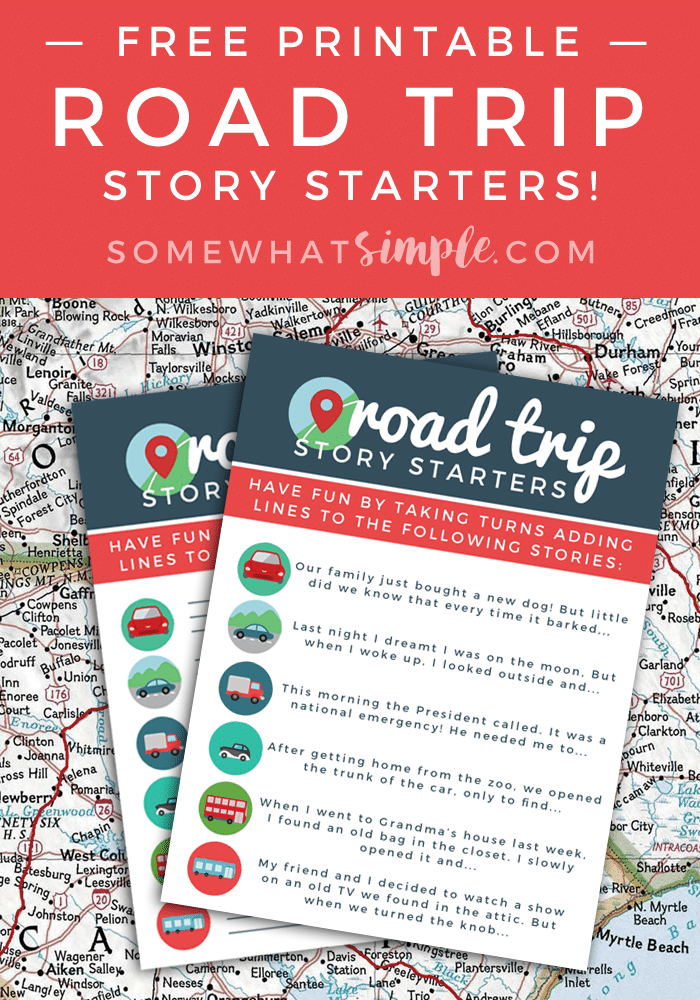 road trip story starters free printables