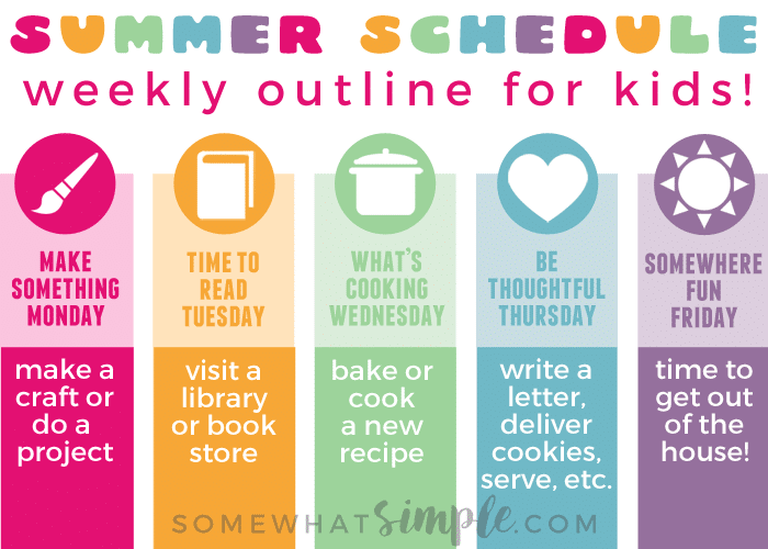 Summer schedule for kids free printable somewhat simple for Weekly schedule template for kids