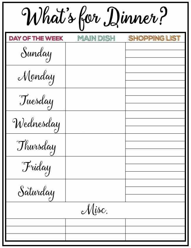 weekly menu plan free printable