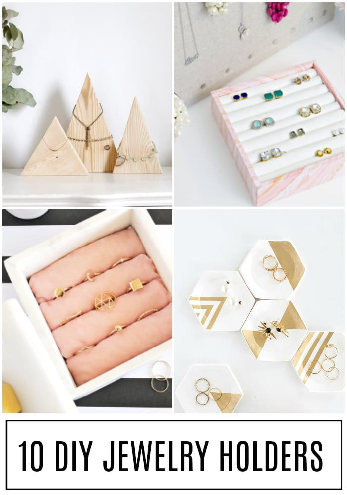 Make a DIY Jewelry Holder out of household items with one of these 10 creative ideas! #jewelry #diy #jewelryholder #jewelrycase via @somewhatsimple