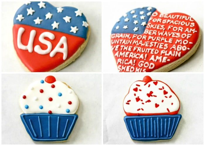 a collage of cookies that are decorated in patriotic colors