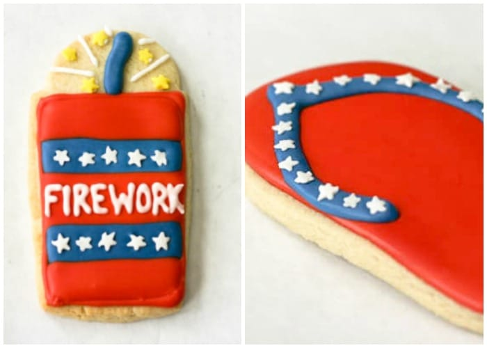 cookies that are decorated to look like a firework and a flip flop