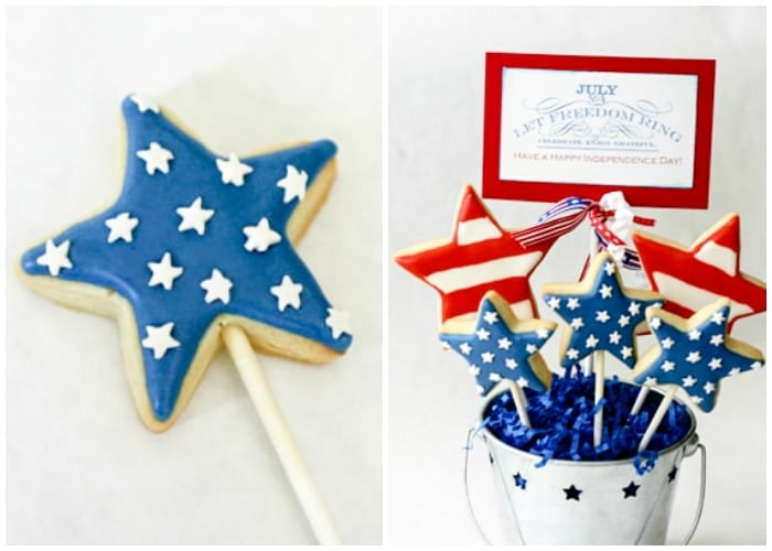 4th of July cookies in the shape of stars and decorated with red white and blue colored frosting