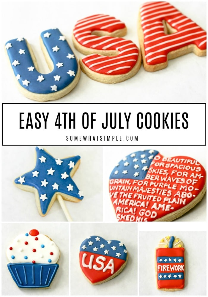 a collage of cookies decorated for July 4th.