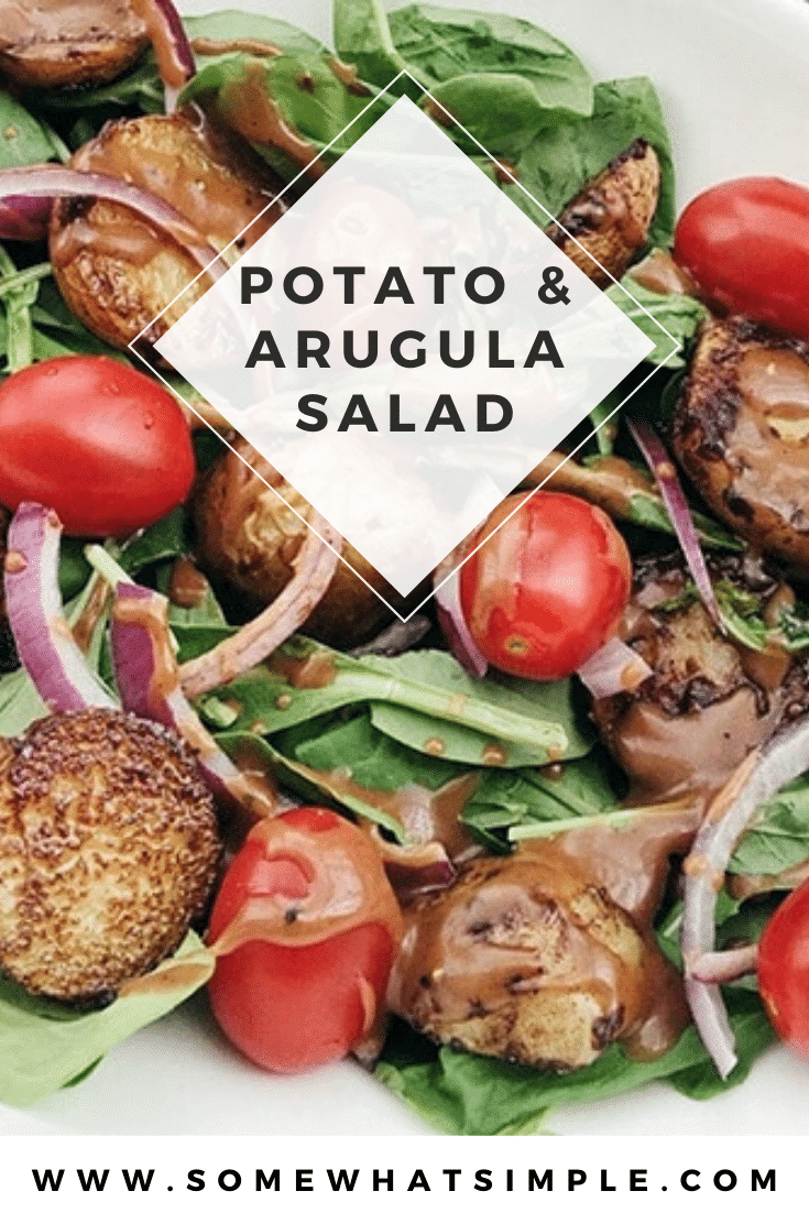 This potato arugula salad uses fresh ingredients and is easy to prepare.  It makes a healthy meal or is the perfect compliment for just about any dinner recipe. #summerbbq #bbqsidedish #potatoearugulasalad #summersalad #easysummersalad via @somewhatsimple