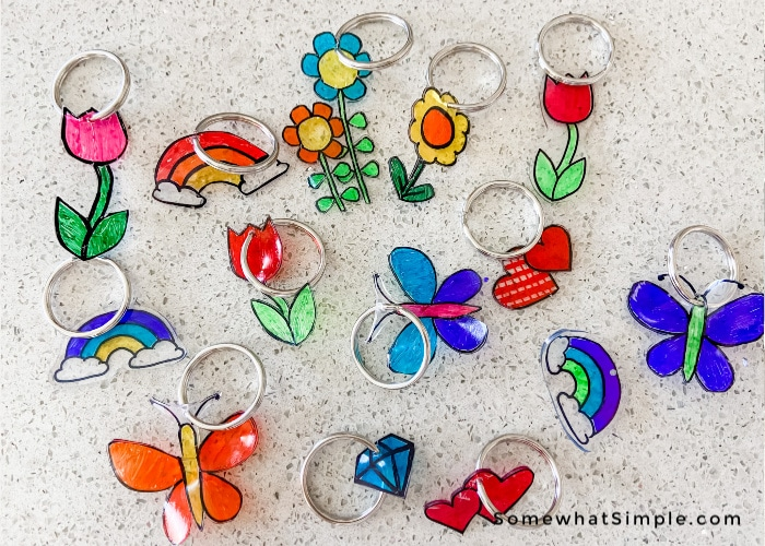 Key chains made from shrinky dink paper