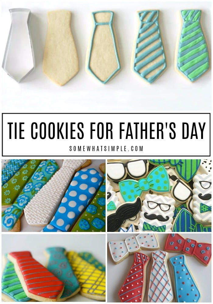 There's no going wrong with an edible tie for Dad! Here is how to make darling Tie Cookies for Fathers Day. #tiecookies #fathersday #cookies #howtomakesugarcookies #royalicing #fathersdaygift via @somewhatsimple
