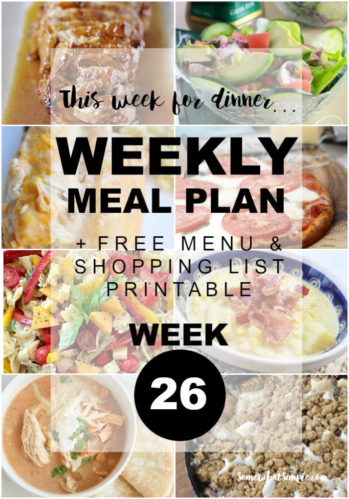 Weekly Menu Plan - Week 26