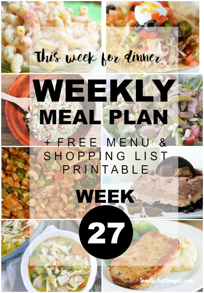 Weekly Menu Plan Week 27