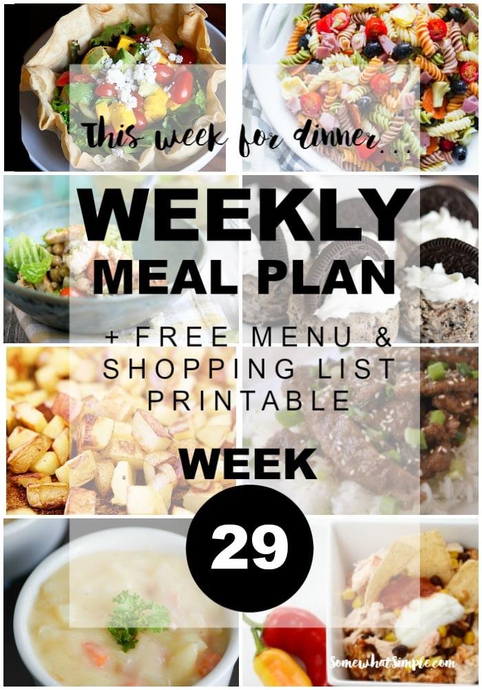 Weekly Menu Plan Week 29