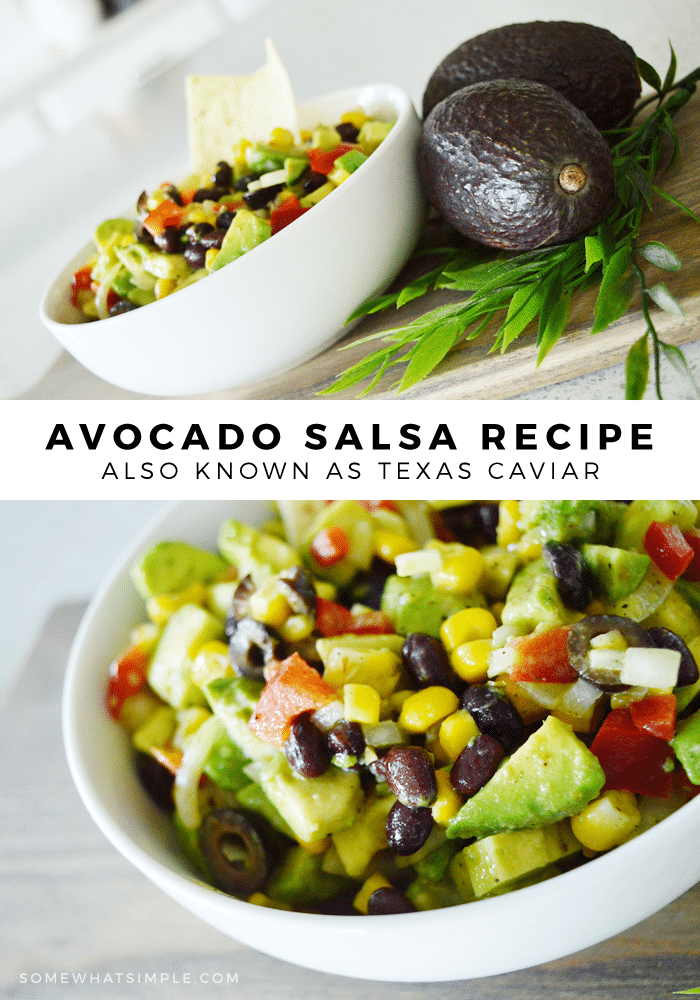 an image split with two pictures.  The top is a bowl of texas caviar in a white bowl with two whole avocados next to it.  The bottom image is a close up picture of a bowl of texas caviar.  The images are split with a white box with the words avocado salsa recipe also known as texas caviar.
