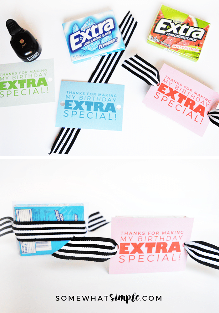 extra gum birthday party favor steps