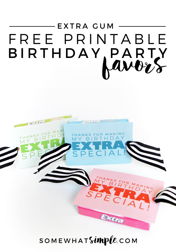 extra gum birthday party favors