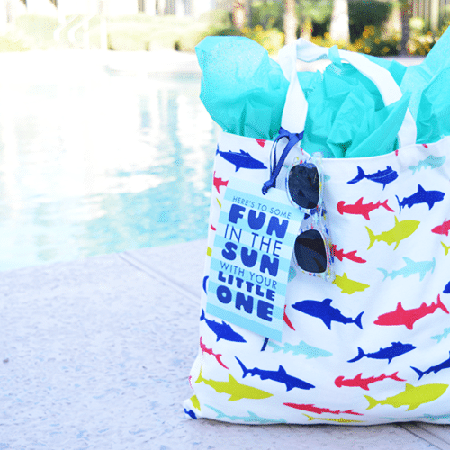 Summer Baby Shower Gift - Poolside gift bag with towel bathing suit and sunscreen