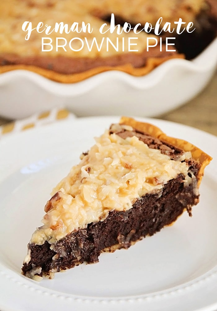 This German Chocolate Brownie Pie is decadent-- not for the faint of heart, my friends! Don't even touch it if you don't have a glass of milk near by. via @somewhatsimple