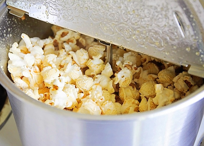 a pot filled with fresh Homemade Kettle Corn
