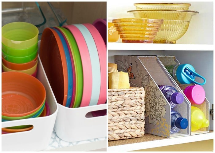 kitchen organization with baskets