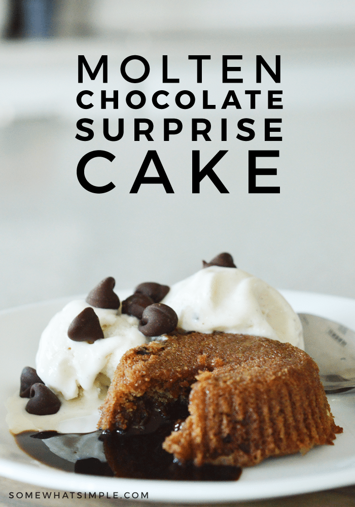 If you're looking for the perfect ooey, gooey, chocolate-y dessert, then you HAVE to make this Molten Chocolate Surprise Cake!! #dessert #dessertrecipes #chocolate #chocolaterecipes #easyrecipe via @somewhatsimple