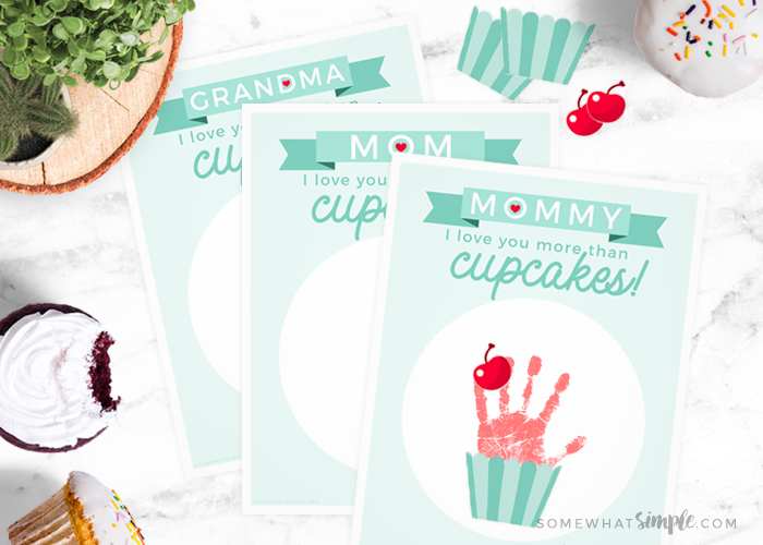 Cupcake Handprint Art For Mother's Day || Free Printables